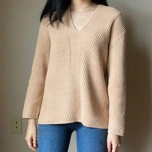 Camel v neck sweater